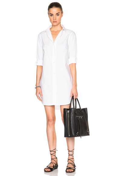 FRAME Denim Poplin Shirt Dress in Blanc