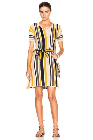 FRAME Denim Lace Up Dress in Multi Stripe