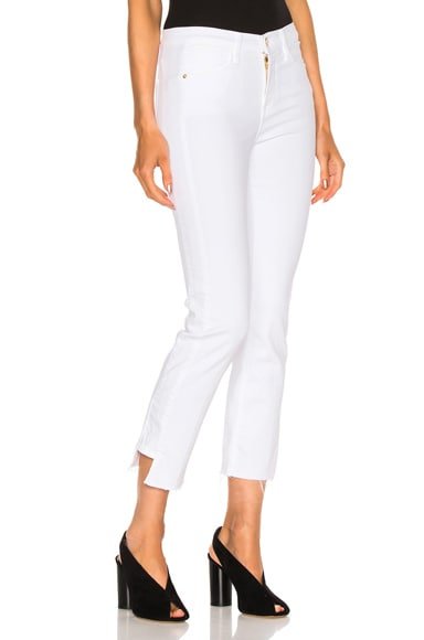 FRAME Denim Le High Straight Side Step in Blanc