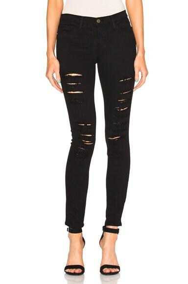 FRAME Denim Le Color Rip Jean in Ripped Noir