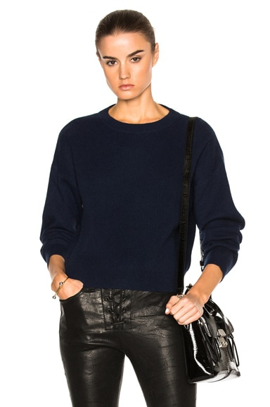 FRAME Denim Cropped Sweater in Navy