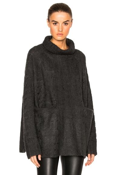 FRAME Denim Oversized Turtleneck Sweater in Charcoal