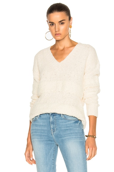FRAME Denim Slouchy V-Neck Stripe Sweater in Off White