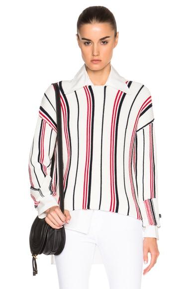 FRAME Denim Cropped Crew Sweater in Vertical Stripe