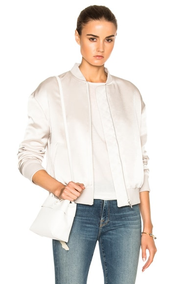 FRAME Denim Satin Bomber in Champagne