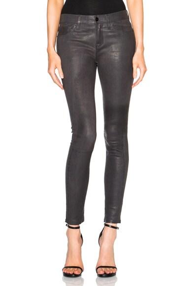 FRAME Denim Skinny De Jeanne Leather Pants in Charcoal