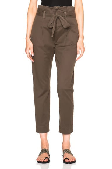 FRAME Denim Skinny Paper Bag Trousers in Commander