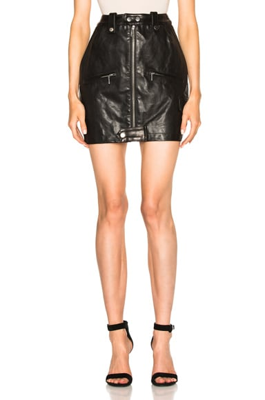 FRAME Denim Moto Skirt in Noir