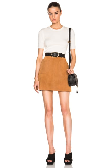 Suede High A-Line Skirt
