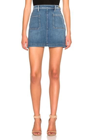 FRAME Denim Patch Pocket Skirt in Greenway