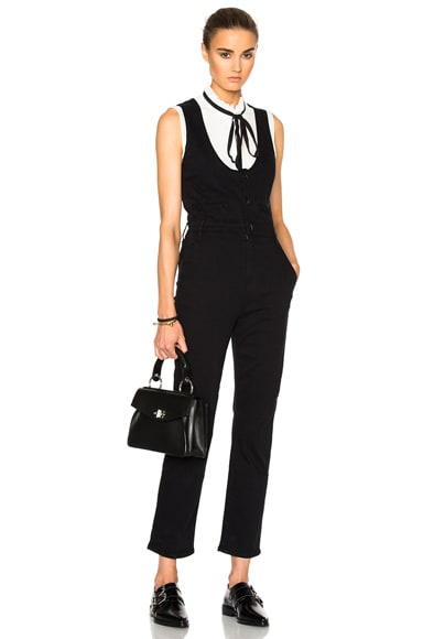 FRAME Denim Waist Coat Jumpsuit in Film Noir