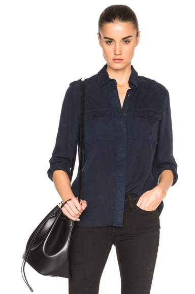 FRAME Denim Military Top in Navy