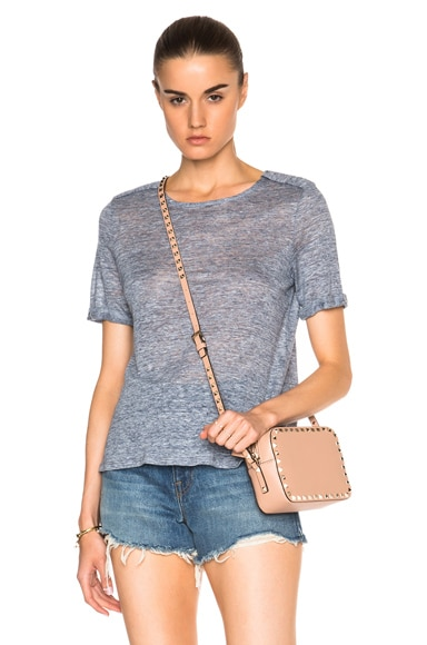 FRAME Denim Boxy Epaulette Tee in Heathered Indigo