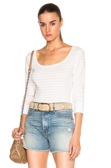 FRAME Denim Boatneck Long Sleeve Tee in Nude Stripe
