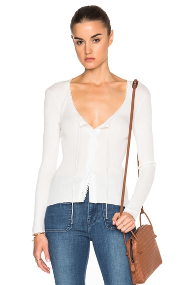 FRAME Denim Lace Rib Top in Off White