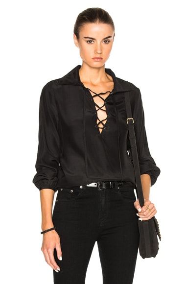 FRAME Denim Lace Up Top in Noir