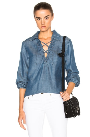 FRAME Denim Lace Up Top in Hadley