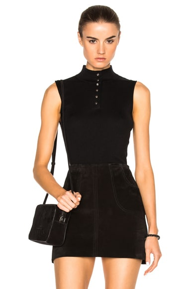 FRAME Denim Sleeveless Top in Noir