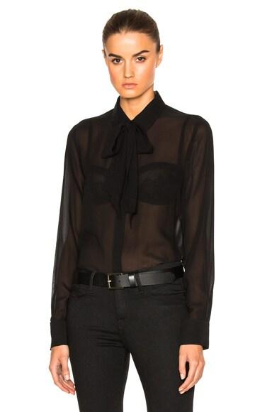 FRAME Denim Chiffon Tie Top in Noir