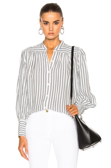 FRAME Denim Chloe Top in Blanc & Navy Stripe