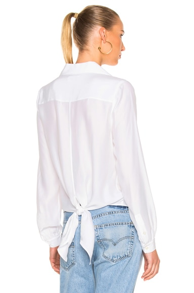 FRAME Denim Tie-Back Collared Blouse in Blanc