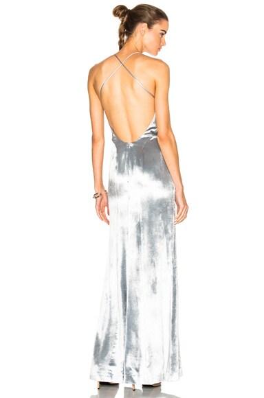 GALVAN Velvet Spaghetti Strap Dress in Silver