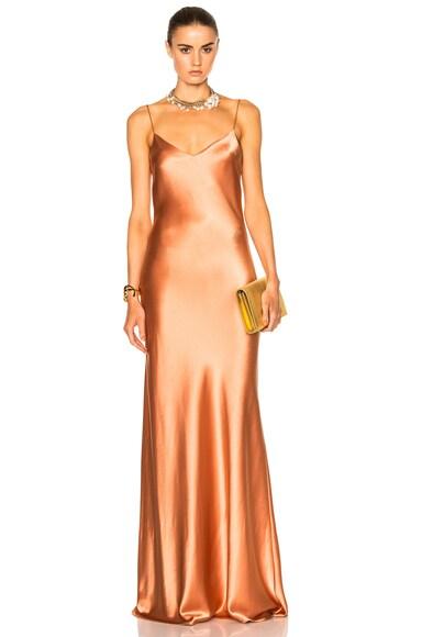 GALVAN Alcazar V-Neck Dress in Burnt Orange