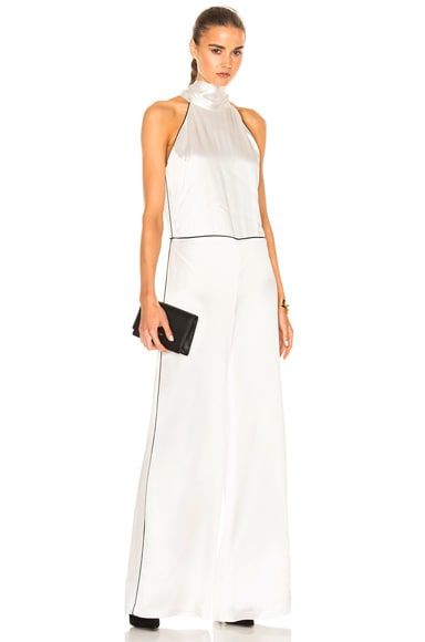 GALVAN Windmill Jumpsuit in Ivory & Black Piping