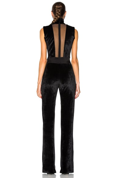 Velvet Plunge Jumpsuit with High Neck