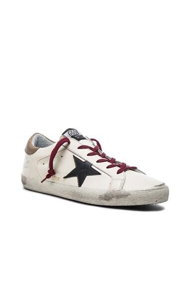 Golden Goose Leather Superstar Sneakers in Black, Cream & Red