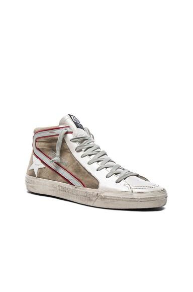Golden Goose Suede Slide Sneakers in Beige & Silver