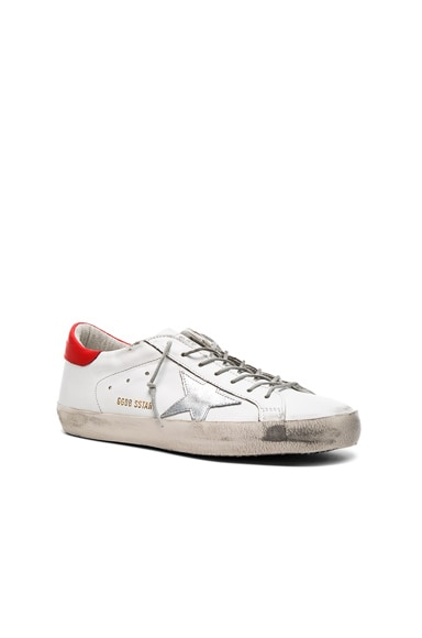 Golden Goose Leather Superstar Low Sneakers in White & Red