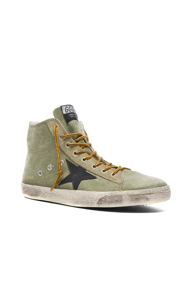 Golden Goose Canvas Francy Sneakers in Olive Canvas