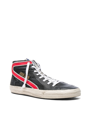 Golden Goose Nylon Slide Sneakers in Black Nylon & Red