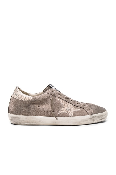 Golden Goose Suede Superstar Sneakers in Grey & Lizard Star