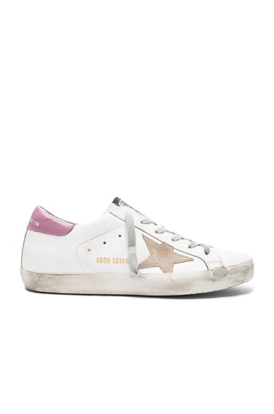 Golden Goose Leather Superstar Sneakers in Dark Lilac & White