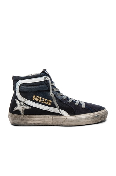 Golden Goose Canvas Slide Sneakers in Blue & Denim