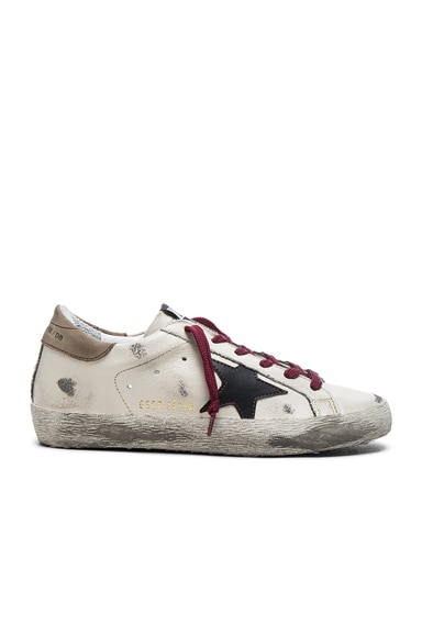Golden Goose Leather Superstar Low Sneakers in Black & Cream Red