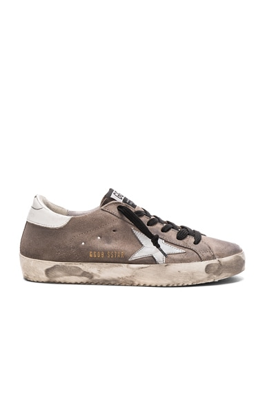 Golden Goose Suede Superstar Low Sneakers in Mid Grey & White