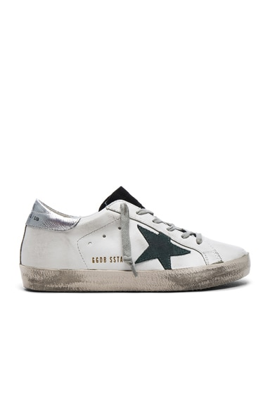 Golden Goose Leather Superstar Low Sneakers in White & Petroleum