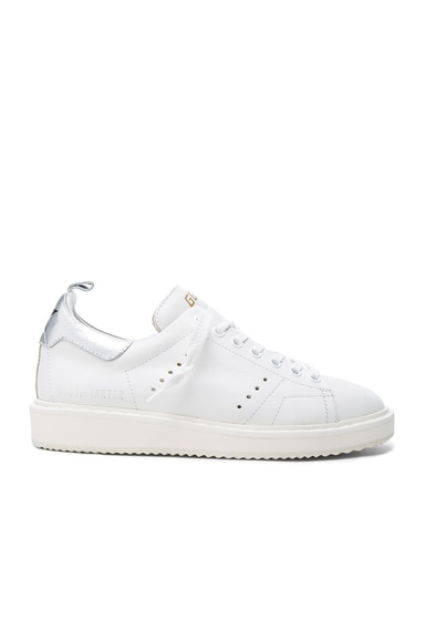 Golden Goose Leather Starter Sneakers in White & Silver