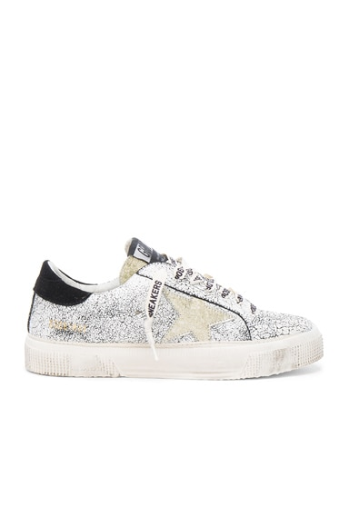 Golden Goose Suede May Sneakers in White Crack & Gold