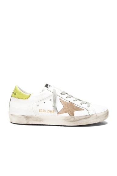 Golden Goose Leather Superstar Low Sneakers in White & Wasabi