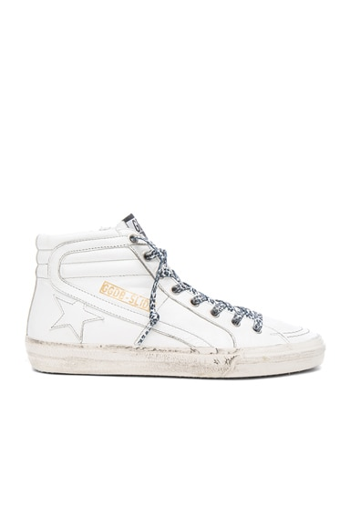Golden Goose Leather Slide Sneakers in White & Grey