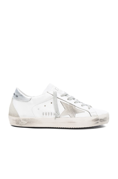 Golden Goose Leather Superstar Low Sneakers in White & Silver