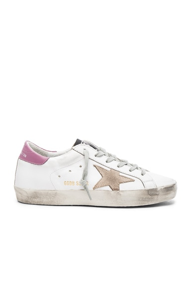 Golden Goose Leather Superstar Low Sneakers in White & Dark Lilac