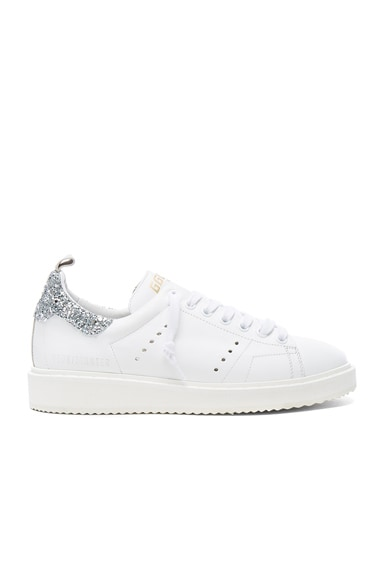 Golden Goose Leather Starter Sneakers in White & Silver Glitter