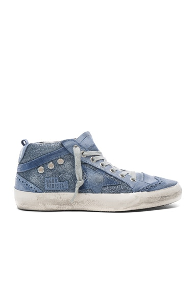 Golden Goose Leather Mid Star Sneakers in Blue Glitter