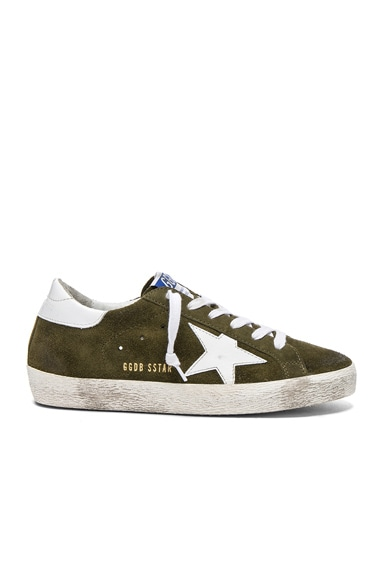 Golden Goose Suede Superstar Low Sneakers in Olive Green & White