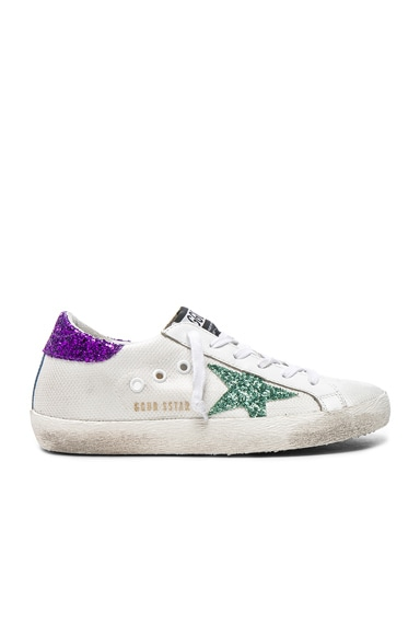 Golden Goose Mesh Superstar Low Sneakers in White & Aquamarine